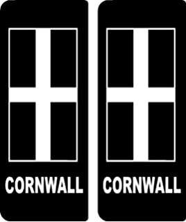 2 x Cornwall Cornish Car Number Plate Vinyl Stickers
