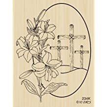 Easter Oval with Lily & Crosses Rubber Stamp By DRS Designs by DRS Designs Rubber Stamps