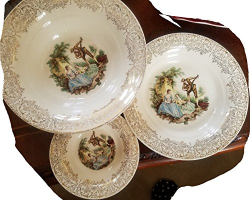 Vintage Limoges Fine China Bowl set of 3 , Warranted 22 ct. gold,dinner size, Serenade Pattern, 9