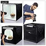 amzdeal Light Box for Photography 20inch Upgraded Photography Tent with LED Light 4 Backdrops (White Black Orange Grey)