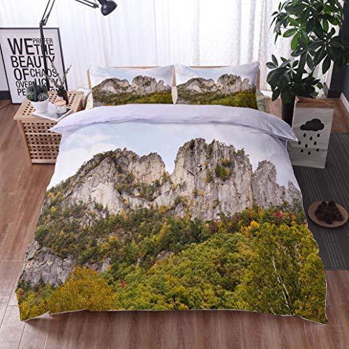 HOOMORE Bed Comforter - 3-Piece Duvet -All Season, Seneca Rocks in West Virginia,HypoallergenicDuvet-MachineWashable -Twin-Full-Queen-King-Home-Hotel -School