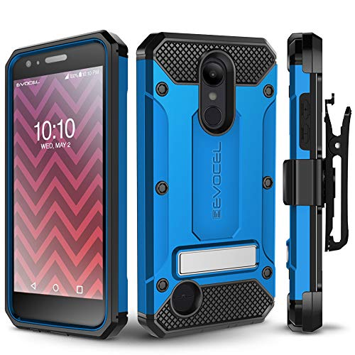 LG Aristo 2/ Aristo 2 Plus/Tribute Dynasty/Fortune 2/ Rebel 3 Case, Evocel [Explorer Series Pro] Premium Case w/Tempered Glass, Belt Clip, Kickstand for K8+/ Phoenix 3/ LG Zone 4, Blue