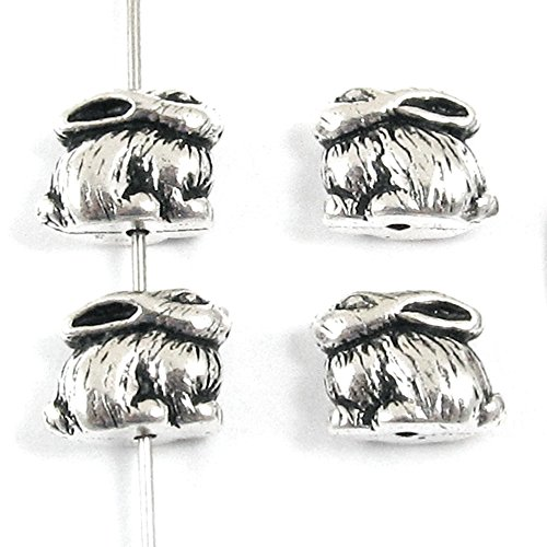 TierraCast Pewter Rabbit Beads-ANTIQUE SILVER BUNNY (4) -