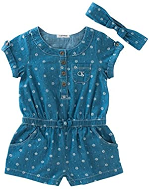Baby Girls' Chambray Sunsuit with Headband