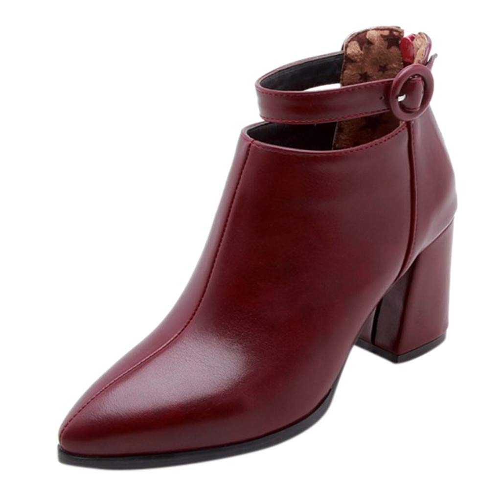 Dermanony Womens Leather Boots Pure Color Pointed Belt Buckle Zipper Boots Fashion Square Heel Waterproof Ankle Boots Wine Red by Dermanony _Shoes