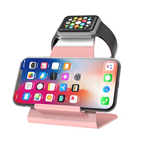 XUNMEJ Apple Watch Stand Apple Watch Charging Dock Stand Bracket Station Holder for Apple Watch Series 3/Series 2/Series 1 (42mm 38mm) iPhone X 8 8plus 7 7plus 6S 6plus (Rose Gold) from XUNMEJ