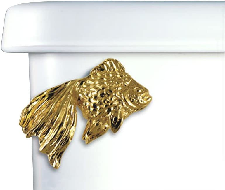 Home Accents Fantail Antique Fish Decorative Toilet Flush Handle Trip Lever Front Tank Mount Brass