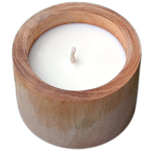 5.5 Ounce Soy Candle (Aromatherapy Scented Soy Candle in Rustic Wood, 5.5 oz by Vasaana (Apple Cinnamon))