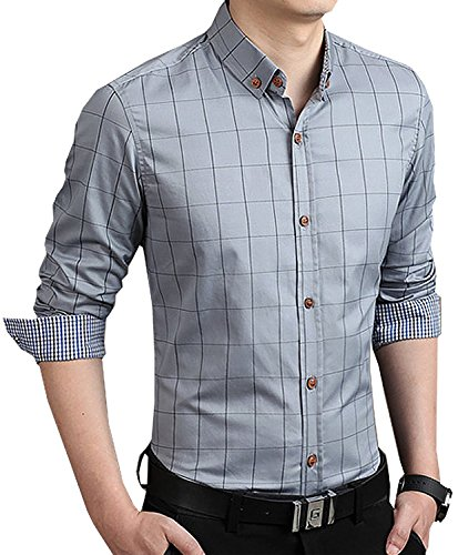 Aiyino men 39 s 100 cotton long sleeve plaid slim fit button for Mens grey button down dress shirt