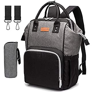 Waterproof Diaper Bag Backpack Large Capacity Nappy Baby Bags for Mom (Black+Grey)