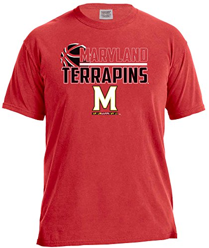NCAA Maryland Terrapins Basketball Logo Short Sleeve Comfort Color Tee, Large,Red
