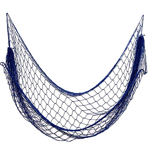 Nature Fish Net Wall Decoration with Shells, Ocean Themed Wall Hangings Fishing Net Party Decor for Pirate Party,Wedding,Photographing Decoration ¡ (Blue no Shells)79inch x 59inch