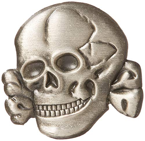 EagleEmblems P64882 Pin-Skull and Bones,Pwt (1'') (Nazi Lapel Pin)