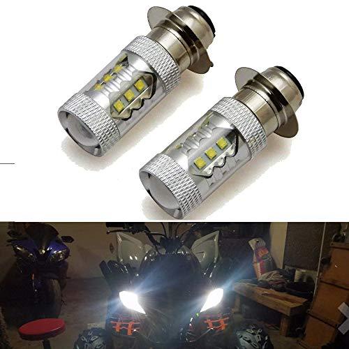 80W H6M LED Headlight Bulbs for Yamaha Banshee Raptor Rhino YFZ350 YFZ450 YFM250 YFM350 YFM450 YFM660 YFM700 ()