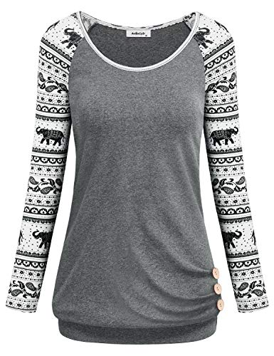 Tunics for Women Plus Size,Fit Flattering Long Sleeve Crew Neck Sport Tunics Junior T Shirts Tops Banded Bottom Side Shirring with Buttons Fit Flare Blouses Nice Vintage Pullover Gray X-Large