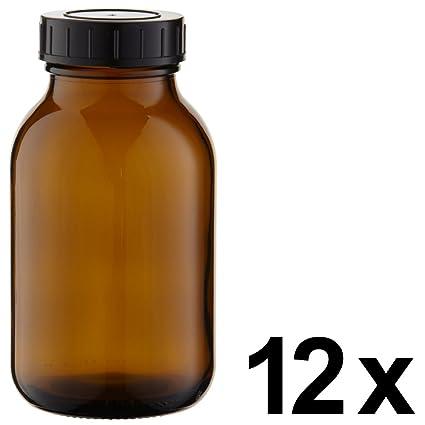 12 x cuello largo botella 500 ml de vidrio ámbar con cierre de rosca con junta
