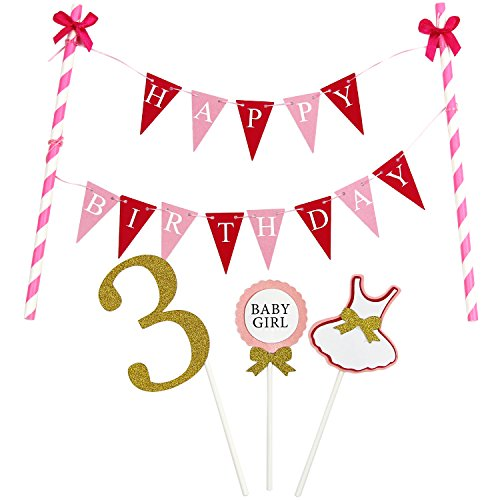 KUNGYO Mini Happy Birthday Cake Bunting Banner - Handmade Pennant Flags 3rd 3 Years Old Baby Girl Birthday Party Cake Topper (Mini Old Pennant)