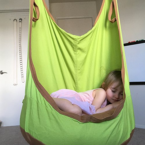 Frog Pod - HappyPie Frog Folding Hanging Pod Swing Seat Indoor and Outdoor Hammock for Children to Adult (Green)