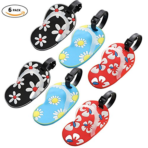 Slipper Luggage Tags, Travel Suitcases Identifiers Labels, Silicone Cruise Baggage Tag Set 6 Pack