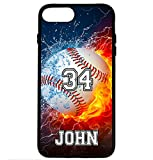 iPhone 8 Case, iPhone 7 Case, ArtsyCase Thunder Water Fire Baseball Personalized Name Number Phone Case for iPhone 7 and iPhone 8 (Black)