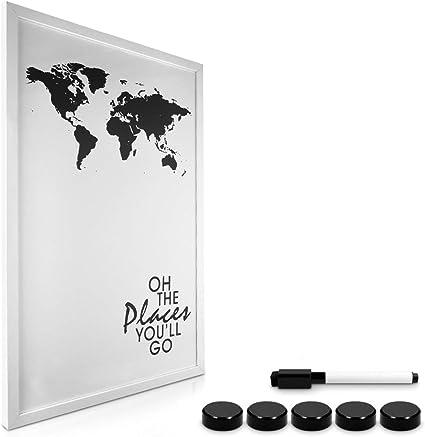 Navaris tablero magnético con marco - Pizarra magnética con diseño de mapa mundial - Tablero de notas de 40x60CM - Con marcador e imanes incluidos: Amazon.es: Oficina y papelería