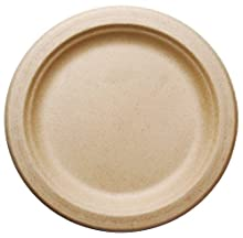 """[500 COUNT] 7"""" in Round Disposable Plates - Natural Sugarcane Bagasse Bamboo Fibers Sturdy Seven Inch Compostable Eco Friendly Environmental Paper Plate Alternative 100% by-product Tree Plastic Free"""