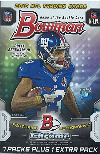 2015 Bowman NFL Football Series Unopened Blaster Box Made By Topps That Contains 8 Packs with 7 Cards Per for a Total of 56 Cards Per Box with Chance for Autographs