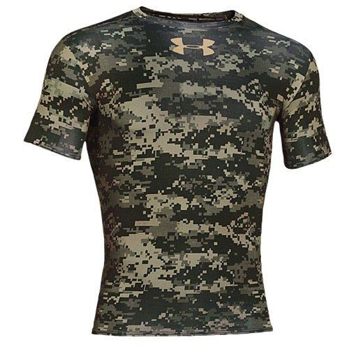 (Under Armour UA Freedom Woodland Digi Camo Compression Shirt XL Artillery Green)