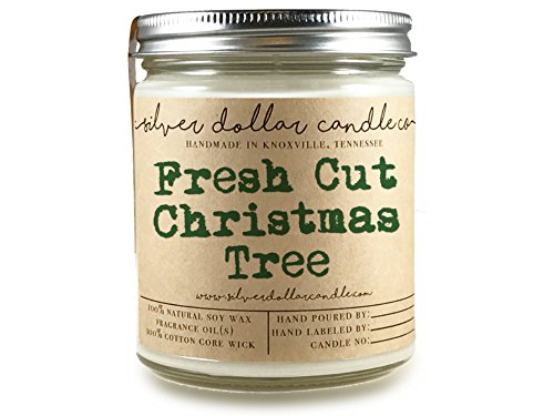 Fresh Cut Christmas Tree Scented Candle 8oz Hand-Poured 100% Soy Wax | Gift Exchange Secret Santa
