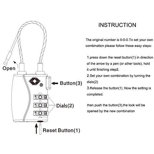 DONJON TSA Approved Travel Luggage Locks, 3-Digit Combination Security Cable Padlock-(pick) by DONJON (Image #4)