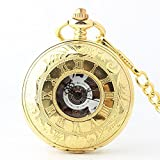 Zxcvlina Classic Smooth Exquisite Roman Numberals Carved Golden Retro Mechanical Pocket Watch with Chain Double Open White Dial Unisex Pocket Watch Suitable for Gift Giving
