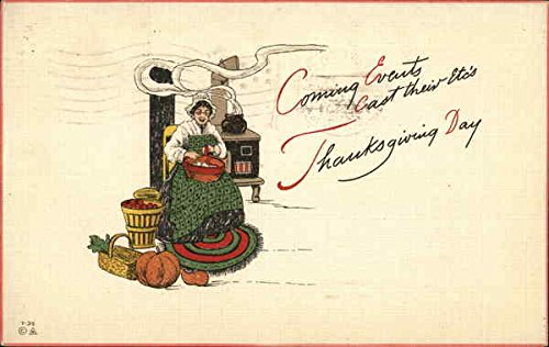 Coming Events.Thanksgiving Day Family Original Vintage Postcard from CardCow Vintage Postcards