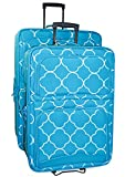 Ever Moda Quatrefoil 2 Piece Luggage Set (Teal Blue)