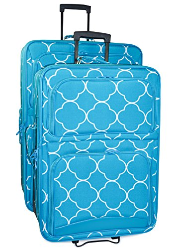 Ever Moda Quatrefoil 2 Piece Luggage Set (Teal Blue) by Ever Moda