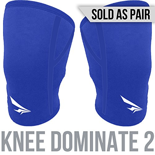 2nd Era Knee Dominate 1 - Best Neoprene Compression Knee Support Sleeves Brace Wraps - For Professional Elite Athletes: Powerlifting, Bodybuilding, and Weight Lifting - Sold as Pair (Blue, - Your Glasses Build Own