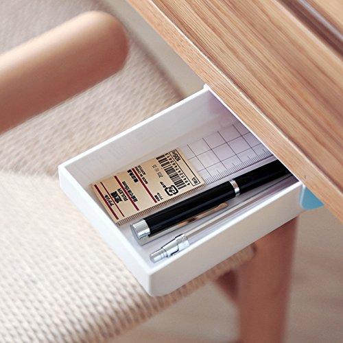 inDomit Pencil Tray Drawer Pop-up Self-adhesive Pen Phone Storage Under Desk Organizer (Blue & White)