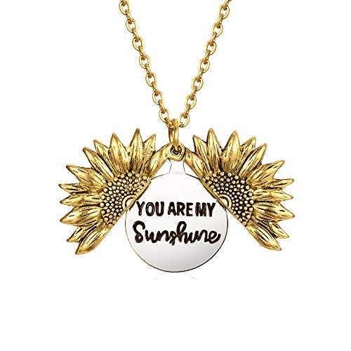 You are My Sunshine Necklace Engraved Inspirational Sunflower Necklaces Antique Gold Plated Memorial Locket Pendant for Women Girl Wife Mother Daughter Girlfriend