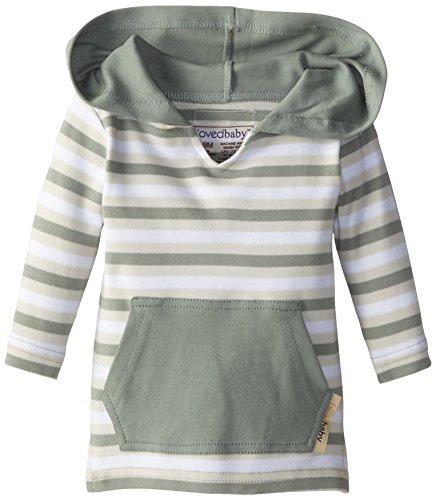 Short Stripe Fine (L'ovedbaby Unisex-Baby Newborn Organic Hoodie, Seafoam Stripe, 6/9 Months)