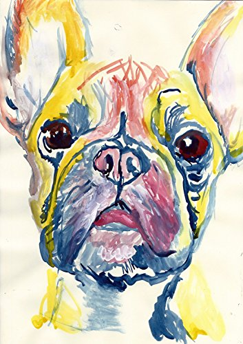 Colorful Cute French Bulldog Wall Art, Dog Gift, Frenchie