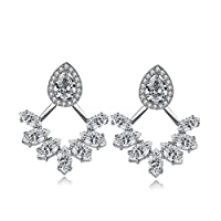 UMODE Jewelry Stud Earring Jackets Set Cubic Zirconia CZ Front Back 2 in 1 for Women and Girls