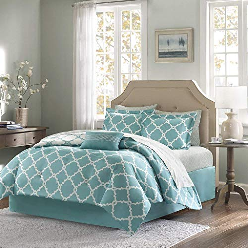 Qutain Linen 6-Piece Bed in A Bag Complete Comforter Set with Free 4 Piece Sheet Set Included - Over Stock Sale (Turquoise Galaxy, King Size)