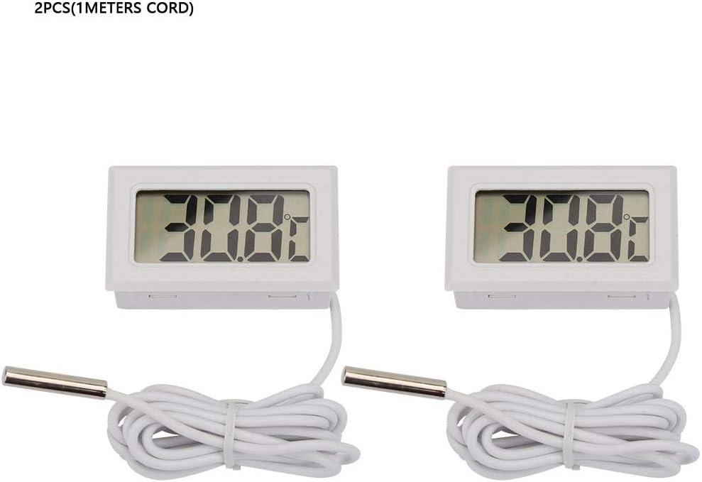 Digital Thermometer White+1Meters Cord 2 Pack fo Set Mini Digital Temperature Controller Thermometer Gauge Indoor Portable Temperature
