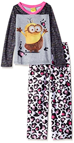 Despicable Me Girls' Little Girls' Minions 2-Piece Pajama Set, Gray, 6