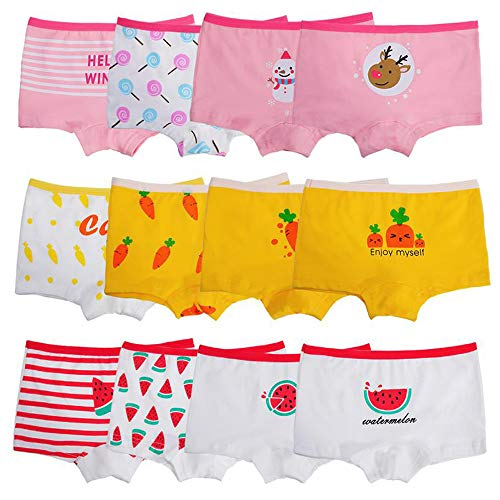 Anktry Kids 12 Pack Soft Comfort Cotton Knickers Underwear Little Girls Assorted Boyshort Panties 2-10 Yrs (M(4-6) Years, Colors-1)