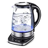 Queen Sense Upgraded Glass Electric Water Kettle with 5 Temperature Settings, 12 Hours Keep Warm Function,1.7 L / 7 Cups Large Capacity Illuminating Cordless Tea Kettle, 1500 W Fast Water Boiler