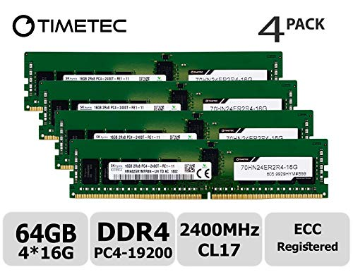 Timetec Hynix 64GB Kit (4x16GB) DDR4 2400MHz PC4-19200 Registered ECC 1.2V CL17 2Rx4 Dual Rank 288 Pin RDIMM Server Memory RAM Module Upgrade (64GB Kit (4x16GB)) ()