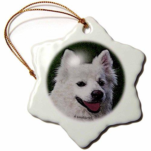 - 3dRose American Eskimo Dog Snowflake Porcelain Ornament, 3-Inch