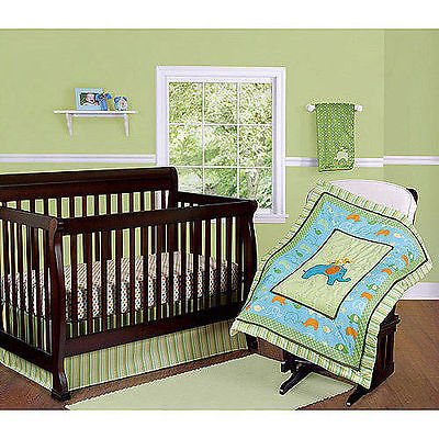 Step By Step 3 Piece Nursery Set (Comforter, Crib Sheet, Dust Ruffle) (Green) (Yellow) (Blue) Unisex by Step by Step   B00ICAEXVM