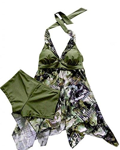 Fourcatz Two Piece Tankini Swimwear Plus Size With Boyshorts XXXXXL Green