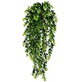 HUAESIN Fake Hanging Plants 2pcs Fake Plastic Hanging Greenery Leaf Plant UV Artificial Farmhouse Greenery Plants Cover for Home Shelve Wall Indoor Outside Hanging Basket